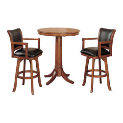 """Hillsdale Furniture - Hillsdale Park View 3-Piece Pub Table Set with Traditional Stools - Add traditional charm to your game room or kitchen with Hillsdale Furniture's Park View pub table and barstools. Finished in a medium brown oak with deep brown leather seat cushions and backs, this set combines comfort with casual living. With a classic pedestal base this bar height table with 36""""Diameter top is a perfect complement to the swivel barstools. Composed of solid woods, climate controlled wood composites, and veneers, this ensemble can find a home in your game room, den, or kitchen. Complete your decor with the matching game table and chairs."""