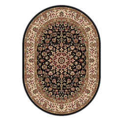 Tayse Rugs - Elegance Black, Red and Beige Oval: 6 Ft. 7 In. x 9 Ft. 6 In. Rug - - The detailed oriental medallion design of this area rug make a statement of elegance to any room. Soft polypropylene fibers make it soft, warm, and easy to clean. Rich hues of black, gold, red and ivory. Vacuum and spot clean.  - Square Footage: 63  - Pattern: Oriental  - Pile Height: 0.39-Inch Tayse Rugs - 5393  Black  7x10 Oval