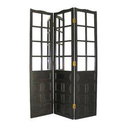 Wayborn - Wayborn French Mirror Room Divider in Antique Black - Wayborn - Room Dividers - 2337B -