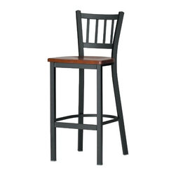 """Grand Rapids Chair - Melissa Anne Barstool (24"""" - 36"""" Seats) - A tremendous variety of back options lets you achieve a distinctive look for your Melissa Anne Cross Back Side Chair. Perfect for a cafe, restaurant, or office, this chair will look great wherever you decide to put it. Match it with a barstool for a complete set. All Grand Rapids chairs and barstools are highly customizable, so be sure to check out all the options listed. Please call if you dont see anything that meets your needs, because there's a good chance that Grand Rapids can make any product suit your preferences. Features: -Metal chairs are manufactured from high quality plating grade steel-significantly stronger than the industry standard. -Hand tailored, coped and brazed joints to maximize strength and prevent rust. -Oven-baked epoxy/polyester finish. -Two inches of HR (High Resilience) foam, considered the Cadillac of cushioning. -Made in the USA. -Constructed for commercial/restaurant usage. -Premium carpet glides. -Seat Height  If you need a specific height that is not listed be sure to call. -Upholstery  Grand Rapids carries many fabric options, if you do not see anything to your liking or have your own fabric, please call and one of our customer service representatives will assist you with your order. -CAL 133  If you need any of Grand Rapids chairs to meet California bulletin 133 please call. -CAL 117 Standard. Dimensions: -Seat height: 29.75"""". -Seat: 18"""" H x 17"""" W x 19"""" D. -Overall: 42"""" H x 16.25"""" W x 18.75"""" D, 35 lbs."""