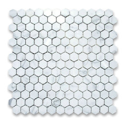 "Stone Center Corp - Calacatta Gold Marble Hexagon Mosaic Tile 1 inch Polished - Calacatta gold marble 1"" (from point to point) hexagon pieces mounted on 12"" x 12"" mesh tile sheet"