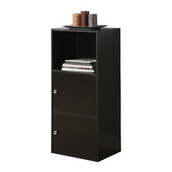 Convenience Concepts - Convenience Concepts Cabinet X-781151 - These versatile cabinets are perfect for X-Tra Storage and display!  Create your own unique design by stacking multiple units.  Easy to assemble with household tools.  Wipe with dry cloth to keep clean.   One open compartment with three closed door compartments that feature chrome knobs and magnetic hinges.