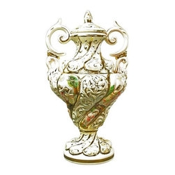 Used 1950 Capodimonte Italian Rococo Ceramic Vase - Two ornate handles and a gorgeous Rococo design make this Italian vintage Capodimonte vase a truly stunning piece! Dating to the 1950s and signed Capodimonte, this vintage vase has a swirling motif that is raised in relief and gilded, as well as alternating panels featuring gods and goddesses dancing in a natural setting. This wonderful lidded and hand-painted vase would make an exceptional gift for the Capodimonte-lover in your life!    Overall Condition is Used - Good. Shows normal wear to the gilded finish, especially on the finial on top, due to age and use.