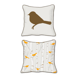 Casart Coverings - Birds & Birch Pillow Slipcover - Reversible, all-weather, washable pillow slipcover