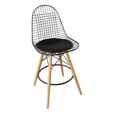 Eiffel Stool with Dowel Base - plywood seat on metal frame in nickel or black finish