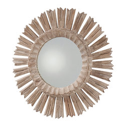 Vendome Hand Carved Solid Wood Mirror - As dramatic as the bedazzling night sky shining above the river Loir, the Vendome Hand Carved Solid Wood Starburst Mirror reflects old-world craftsmanship at its most pure. �The whitewash finish accentuates the finely etched details and fringe of each singular spoke. �Gently debossed fluting encircles the mirror, lending the piece a vivid presence in a foyer, great room, dining room, or boudoir.