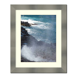 """Frames By Mail - Wall Picture Frame Stainless Steel finish with a white acid-free matte, 8x10 - Designed to match stainless steel appliances this 2"""" wide picture frame has a stainless steel finish over a mdf frame.  The white matte, for a 5X7 picture, can be removed to accommodate a larger picture.  The frame includes regular plexi-glass (.098 thickness) foam core backing and can hang either horizontal or vertical."""