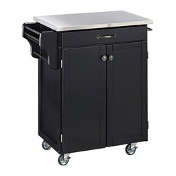 HomeStyles - Wood Kitchen Cart - With a stainless steel top for an easy clean food prep surface, this kitchen cart will be a useful tool! It features a side spice rack, enclosed cabinet and towel racks for ample storage space and added convenience. * Stainless steel top. Solid wood construction. Utility drawer. Metal drawer slides. Two cabinet doors open to storage with adjustable shelf inside. Handy spice rack. Two towel bars. Heavy duty locking rubber casters for easy mobility and safety. Two of the casters lock. Clear coat finish helping to protect against wear from normal use. Made from Asian hardwood and steel. Black finish. Made in Thailand. Assembly required. 32.5 in. L x 18.75 in. W x 35.5 in. H
