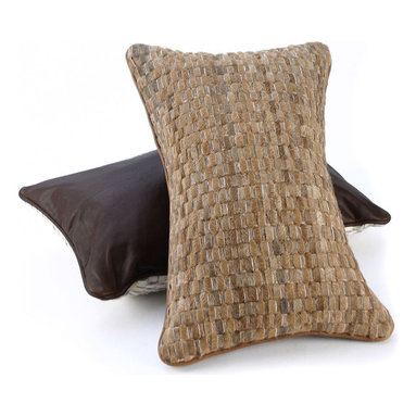 Pfeifer Studio - Woven Cowhide Pillow - The cowhide for these unique pillows is cut into thin strips and then woven on a loom, just like fabric. Each has a brown leather back (black leather on the black cowhide style) and is fitted with a medium-fill feather and down inner. Our pillows are each individually handmade-to-order using natural materials, each is considered unique and one-of-a-kind.