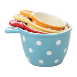 Creative Co-Op - Polka Dot Measuring Cup Set - Redesign your cooking experience with this lovely measuring cups set that's the perfect companion to cake recipes and more.   Includes four measuring cups Nestled: 4.65'' W x 3.7'' H x 2.56'' D Ceramic Hand wash Imported