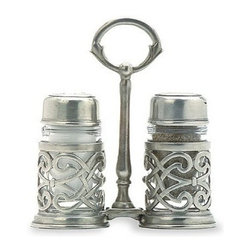 Match Pewter - Cutwork Salt & Pepper with Caddy by Match Pewter - In a world dominated by mass production, Match pewter is handmade by artisans in Northern Italy. Its classic forms harmonize with both traditional and modern settings, recalling celebrations at well laid tables. Each piece bears a stamped symbol from the region in which it was made.