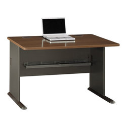 """BBF - Bush Series A 48"""" Desk in Sienna Walnut/Bronze - Bush - Computer Desks - WC25548 - Bush Series A offers the flexibility to grow with you as your office or business grows."""