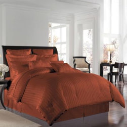 Wamsutta - Wamsutta 500 Damask Comforter Sets in Rust - A lustrous, silk-like feel and a classic damask stripe that reverses to a pinstripe back provides refined detail in these elegant comforter sets. Comforter and sham feature 100% Egyptian cotton construction. 500 thread count.