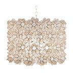 """Worlds Away - Worlds Away 25"""" Diameter Off White Floral Capiz Pendant ROSETTE - 25"""" diameter floral capiz pendant. Two light cluster uses two 60W bulbs. Comes with diffuser and 3' chrome chain and canopy."""