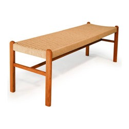 Teak bench with rope seat - Beautifully crafted wooden bench with a natural rope seat. Made of 100% solid teak wood.