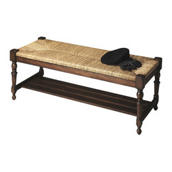 Butler Specialty - Butler Bench - This spectacular bench will make a grand statement at the foot of a bed, an entryway or in virtually any other space. Hand crafted from solid gemelina wood, it features a meticulously woven lampakanay rope seat, immaculately turned legs and a slatted shelf beneath the seat.