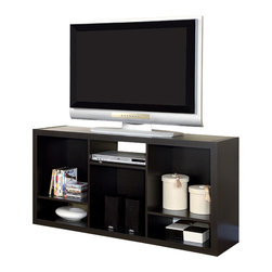 """Monarch Specialties - Monarch Specialties Hollow-Core 56 Inch TV Console or Bookcase in Cappuccino - This bold contemporary """"Shift"""" bookcase / TV console will add stylish storage solution to your living room, office, or hallway. This versatile piece that can be used upright as a bookshelf or on its side as a TV console. Finished in deep cappuccino, the thick hollow-board side panels and asymmetrical shelves provide a sleek an modern look. Open shelves offers space for books, decorative items, or AV equipment. Accommodates up to 56""""L TV."""