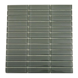 """Loft Ash Gray Polished Glass Tiles - Loft Ash Gray Polished 1""""x4"""" Glass Tile Make your back splash the kitchen's, bathroom, pool or decorated room focal point by using this striking stacked pattern tile. Add some style to your decor! This should give it a more distinct look. These glass tiles will add a durable lasting beauty and value to your bathroom, kitchen, fireplace or pool installation. The color is painted on the back of the tile so it will not scratch or chip off. Chip Size: 1""""x4"""" Color: Gray Material: Glass Finish: Polished Sold by the Sheet - each sheet measures 11 5/8"""" x 11 5/8"""" (0.94 sq. ft.) Thickness: 8mm Please note each lot will vary from the next."""