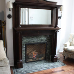 Direct Vent Gas Fireplaces - Traditional - Town & Country Gas Fireplace Model TC30 with Herringbone Panels & Chalet Burner - Supplied & Installed by NYC Fireplaces & Outdoor Kitchens of Maspeth, NY.