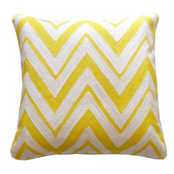 JITI - Zallie Yellow and Cream Pillow - Give your sofa or bedding a sunny new look with this yellow and cream zigzag print pillow. The cheerful cotton cover encases a feather and down-filled insert for extra-plush comfort.
