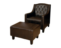 Great Deal Furniture - Empierre Brown Leather Club Chair & Footstool Set - With its wide stance and soft padding, the Empierre Brown Leather Chair & Footstool Set combines contemporary and traditional elements to create one stunning set. The chair features marbled color leather upholstery with tufted back and dark espresso stained legs. Empierre is sure to bring a class to your room.