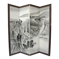 Oriental Furniture - 6 ft. Tall Misty Mountain Room Divider - The Misty Mountain motif is subtle and beautiful, rendered in delicate black ink and shades of green and grey. Note that no two renderings are exactly the same. Subtle, beautiful hand painted wall art.