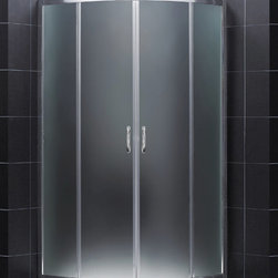 "BathAuthority LLC dba Dreamline - Prime Frameless Sliding Shower Enclosure, 36 3/8"" D x 36 3/8"" W x 72"" H, Frosted - The Prime shower enclosure is the perfect combination of sophisticated style and brilliant practicality. The corner installation saves space while creating a stunning focal point. Sliding doors create a comfortably wide walk through without claiming the space necessary for a swing door. The Prime offers a unique shape with a neo-round design, achieved with beautifully curved tempered glass."
