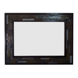 Fancydecor - Decorative oak wood frame with faux stone detail, 24x36 - Oak wood frame with decorative faux stones inside the frame for paints, pictures, glass, mirror.