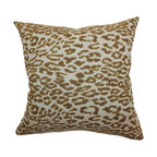 """The Pillow Collection - Egeria Leopard Print Pillow Brown 18"""" x 18"""" - Sophisticated and sexy, this throw pillow features a classic leopard print pattern. The brown colored leopard print pattern is set against a white background.Prop this against soft colors in neutrals to make this accent pillow pop out. This square pillow brings pure comfort and style to your space. Made from 100% soft cotton fabric. Hidden zipper closure for easy cover removal.  Knife edge finish on all four sides.  Reversible pillow with the same fabric on the back side.  Spot cleaning suggested."""