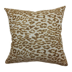 The Pillow Collection - Egeria Leopard Print Pillow Brown - Sophisticated and sexy, this throw pillow features a classic leopard print pattern. The brown colored leopard print pattern is set against a white background.Prop this against soft colors in neutrals to make this accent pillow pop out. This square pillow brings pure comfort and style to your space. Made from 100% soft cotton fabric. Hidden zipper closure for easy cover removal.  Knife edge finish on all four sides.  Reversible pillow with the same fabric on the back side.  Spot cleaning suggested.