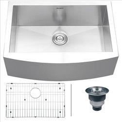 Ruvati - Ruvati RVH9100 Apron Front Kitchen Sink - Elegant, apron-front farmhouse kitchen sinks are a bold addition to any kitchen. Deep, rectangular bowls with bottom drain grooves and a curved apron front define the Verona series.