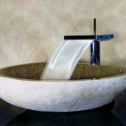 Yosemite Home Decor Hand Carved Boulder Vessel Sink, Sand - Take inspiration from the mountains in this hand-carved boulder vessel sink.