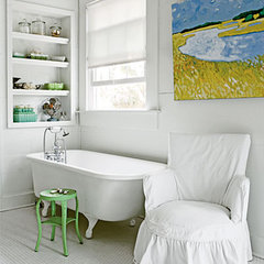 White, Watercolored Bath - 50 Comfy Cottage Rooms - Photos - CoastalLiving.com