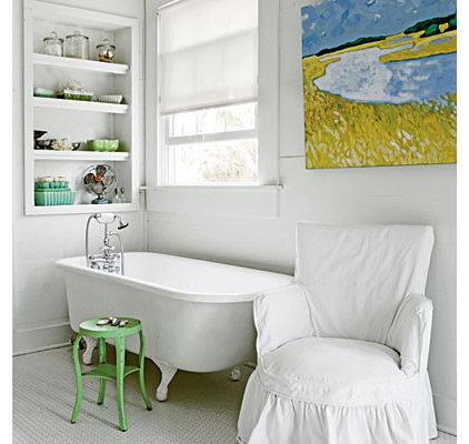 White, Watercolored Bath - 50 Comfy Cottage Rooms - Photos - CoastalLiving.com