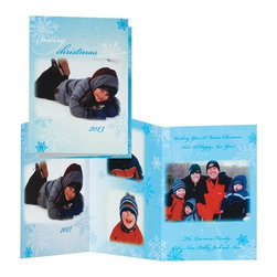 """Exposures - Snowflakes Collage Card Set of 20 - Overview Send your Christmas greetings with this festive card featuring 4 of your special photos surrounded by delicately falling snowflakes. Choose from a purple, red or blue card to coordinate with your photos. Your photos and custom message are reproduced directly onto a pearlized cardstock. With all your personalization included, sending your holiday greeting is easier than ever! There's nothing for you to insert or assemble - just address, stamp, and send!  Features:  Upload, edit and preview your photos and personalization in our online design tool Specialty pearlized cardstock Choice of 3 card colors Choice of two photo layouts Set of 20 photo cards Includes 20 coordinating envelopes Includes foil envelope seals to add a special finishing touch  Personalization  Photos will have an elegant vignette edge Card personalization is included, up to four lines, 34 characters per line Envelope personalization available in black and is imprinted on the back flap of the envelope. Up to 3 lines, 45 characters per line Standard greeting on front of card: """"Merry Christmas 2013."""" No returns on personalized items unless the item is damaged or defective   Specifications  Folded card size 5"""" wide x 7"""" high Z-fold style card.  Requires 4 photos Order online only   Shipping  Please allow an additional 2 weeks for imprinted items We cannot deliver to a PO Box delivery address for this item We apologize for any inconvenience, however, this item is not available for shipment to Canada"""