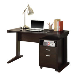 Adarn Inc. - Simple Casual Cappuccino Computer Desk w/ Open Shelf Drawer Rolling File Cabinet - This two-piece desk set with a desk and file cabinet is a simple casual style with a rich cocoa finish. The desk set works well not only in an office, but in a family room/living room, bedroom, or kid's room as well. It is the ideal place for a laptop, desktop, or paper and books. The file cabinet on casters adds storage with an open shelf and drawer space below. It can roll out from under the table desk or be placed under the desk to maximize floor space. Accessories not included.