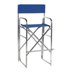 30.5 Inch Aluminum Frame Bar Height Directors Chair - The 30.5 Inch Aluminum Frame Bar Height Director Chair features a lightweight silver aluminum frame that offers strong support with double crisscrosses and exceptional height. Choose from several bright vibrant color options for the one that best suits your space. When you're not using it this chair folds flat for easy transport and storage. Dimensions Canvas seat bottom: 20W x 13.4D inches Canvas seat back: 24.8W x 8.7H inches