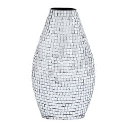 """Benzara - High Quality Mirror Vase with Dazzling Effect - Enhance your room decor with Sturdy Metal Frame High Quality Mirror Vase with Dazzling Effect. You can match this vase with your favorite flowers or leave it as such to make your living space exude liveliness and positive energy. Designed artistically with the charm befitting an art piece, this amazing vase is sure to brighten up your home or workplace. The high quality metal provides a sturdy frame on which numerous pieces of mirror are neatly studded. This beautiful vase is attractively shaped with a beautiful curve at the center and a stable base for optimal balance. The upper portion is narrow and is adequately spaced for flowers to be fixed. These shining and crystal clear mirror pieces reflect the joyful mood and produce a dazzling effect that enhances your room decor either at home or office. The superb pattern in which the mirror pieces are arranged and the perfect finish bears testimony to the expert craftsmanship that has gone into the making of this vase..; High quality mirror pieces producing dazzling effect; Enhances room decor; Sturdy metal frame; Expert craftsmanship; Weight: 3.96 lbs; Dimensions:10""""W x 4""""D x 15""""H"""