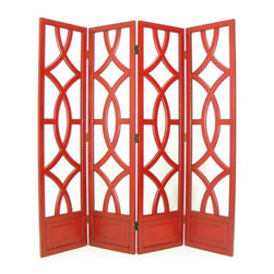 Wayborn - Charleston 4 Panel Screen in Red - China Red Finish. 4 Panels with open cut out design. Room divider does not have fabric. Modern twist to the traditional Japanese Shoji design. Abstract circular design. Made from solid Basswood. Antiqued with a smooth finish. 72 in. W x 76 in. H (84 lbs.)
