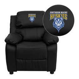 "Flash Furniture - Southern Maine Huskies Black Leather Kids Recliner with Storage Arms - Get young kids in the college spirit with this embroidered college recliner. Kids will now be able to enjoy the comfort that adults experience with a comfortable recliner that was made just for them! This chair features a strong wood frame with soft foam and then enveloped in durable leather upholstery for your active child. This petite sized recliner features storage arms so kids can store items away and retrieve at their convenience. University of Southern Maine Embroidered Kids Recliner; Embroidered Applique on Headrest; Overstuffed Padding for Comfort; Easy to Clean Upholstery with Damp Cloth; Flip-Up Storage Arms; Storage Arm Size: 3.25""W x 6""D x 11""H; Solid Hardwood Frame; Raised Black Plastic Feet; Intended use for Children Ages 3-9; 90 lb. Weight Limit; Black LeatherSoft Upholstery; LeatherSoft is leather and polyurethane for added Softness and Durability; CA117 Fire Retardant Foam; Safety Feature: Will not recline unless child is in seated position and pulls ottoman 1"" out and then reclines; Overall dimensions: 25""W x 26"" - 39""D x 28""H"