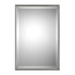 """Uttermost - Uttermost Sherise Brushed Nickel Mirror 01113 - Brushed nickel, metal frame features a decorative beading design. Mirror features a generous 1 1/4"""" bevel. May be hung either horizontal or vertical."""