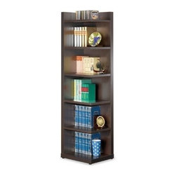 "Coaster - Corner Bookcase (Cappuccino) By Coaster - Contemporary style. Six shelves open on one side. Made from wood. Minimal assembly required. 19.75 "" W x 15.75 "" D x 70.75 "" H.  It is ideal used on its own or you can use multiple units together to create a customized bookcase wall unit."