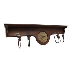 Wooden Shelf with Coat Hooks and Clock 36 In. - This piece adds a decorative accent to any wall while providing coat hooks, a clock, and a shelf. Made of wood, it measures 36 inches long, 4 inches deep, and 9 1/2 inches tall. It has a total of 4 coat hooks, each with its own name holder, and it has a 6 inch diameter clock in the center. The clock features a quartz movement, has Roman numerals and black hands to mark the time, and runs on 1 AA battery (not included). This piece a a lovely addition to homes and offices and makes a great housewarming gift.