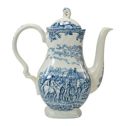 Myotts Country Life on base - Consigned Large Blue and White Coffee Pot by Myott, Vintage English Countryside - Classical large coffee pot in blue and white with countryside scenes of horse riders by Myott; vintage English, later 20th century.