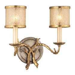Corbett Lighting - Corbett Lighting Parc Royale Traditional Wall Sconce X-26-66 - This Corbett Lighting Parc Royale Traditional Wall Sconce will illuminate your home with a warm and cozy atmosphere . It has two golden ice glass shades and faux branches. It's a wonderful, 12-inch-tall light fixture with a  gold and silver leaf finish. The rustic look and feel will certainly make a lasting first impression on anyone who sees it.