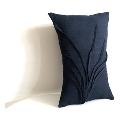 yorktown road - grass accent pillow - HAND DYED linen colors.
