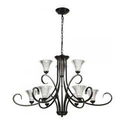 ParrotUncle - French Cottage Black Iron Chandelier with Glass Shades - Traditionally styled with a classic candelabrum design, this magnificent chandelier is a stylish lighting piece that could enhance the visual aesthetic of almost any interior space. It features a fine polished black iron frame with slender curving arms supporting attractive glass shades shaped like flowers. The unique design gives this chandelier a rich elegance, making it matches with various styles.