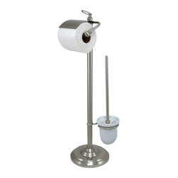 """Kingston Brass - Pedestal Toilet Paper and Brush Holder - Kingston Brass' bathroom accessories are built for long-lasting durability and reliability. They are designed so you can easily coordinate matching pieces. Each piece is part of a collection that includes everything you need to complete your bathroom decor. All mounting hardware is included and installation is easy.; 28-5/8"""" tall; 7-1/2"""" diameter base; 5-3/8"""" toilet paper rod; No tools required for assembly; Matching accessories available; Material: Brass; Finish: Satin Nickel; Collection: Vintage"""