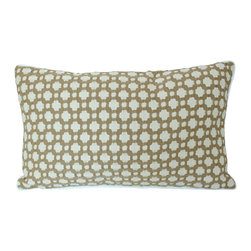 The Pillow Studio - Tan and Ivory Textured Designer Fabric Pillow Cover with Ivory Piping - This textured pillow will become a subtle focal point to any room; it has a great geometric design and adds just the right amount of color.