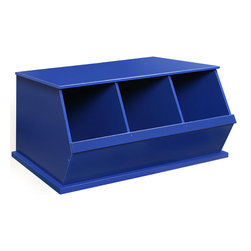 "Badger Basket - Three Bin Storage Cubby - Blue - A sturdy, modular storage solution for keeping all sorts of items tidy and out of sight. Bins can be stacked with other bins to expand your storage capacity. Can be used for storing books, magazines, newspapers, toys, sporting goods, videos/DVDs/CDs, craft supplies, and more! Wide mouth bin openings make it easy to load and unload. Great for kids when learning to sort, organize, and clean-up. Made with wood composites. Each bin measures: 11""W x 17-+""D x 15-+""H.; Weight: 37.6 lbs; Dimensions: 37x19.3x17"